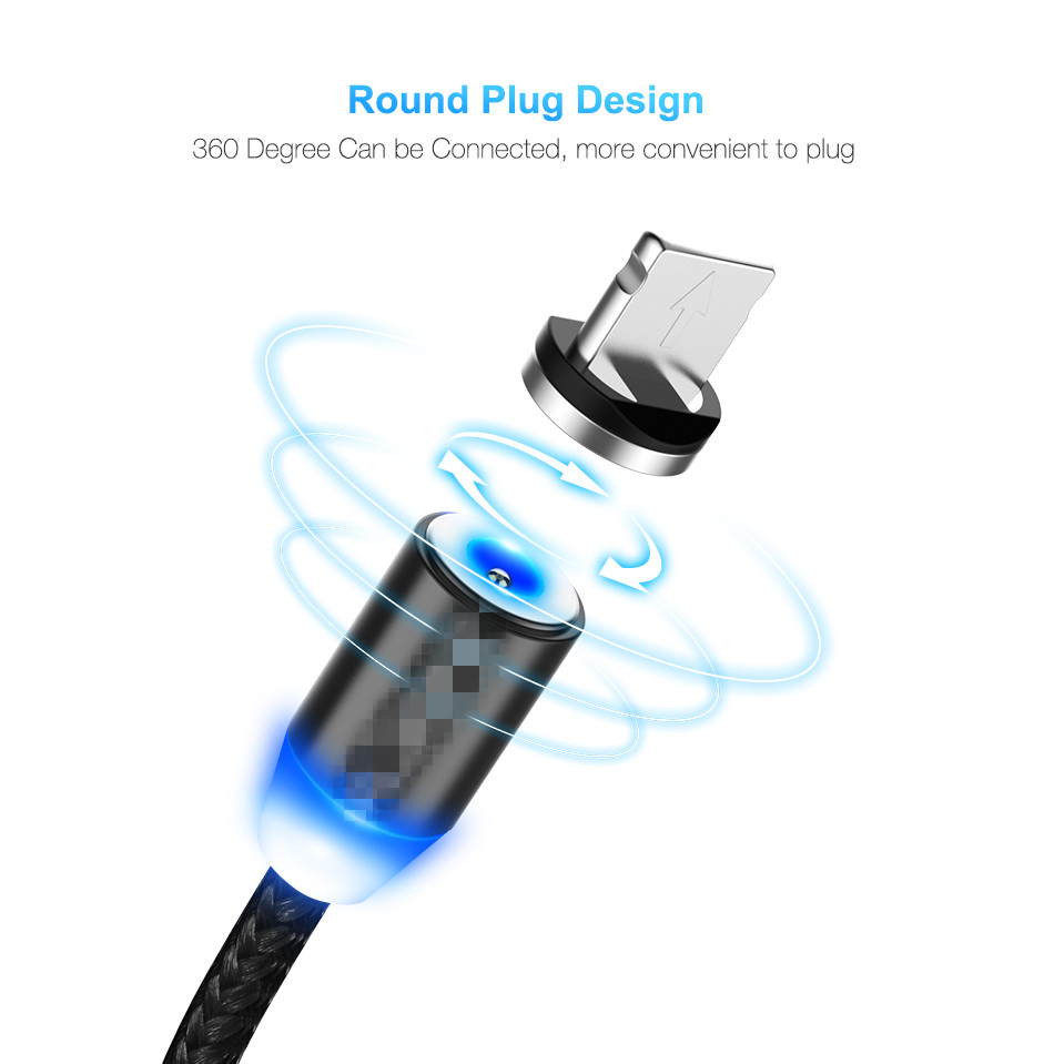 Light - LED Magnetic Cable For Lightning Type C Phone Cable 1m 2A Fast Charge Magnet Charger