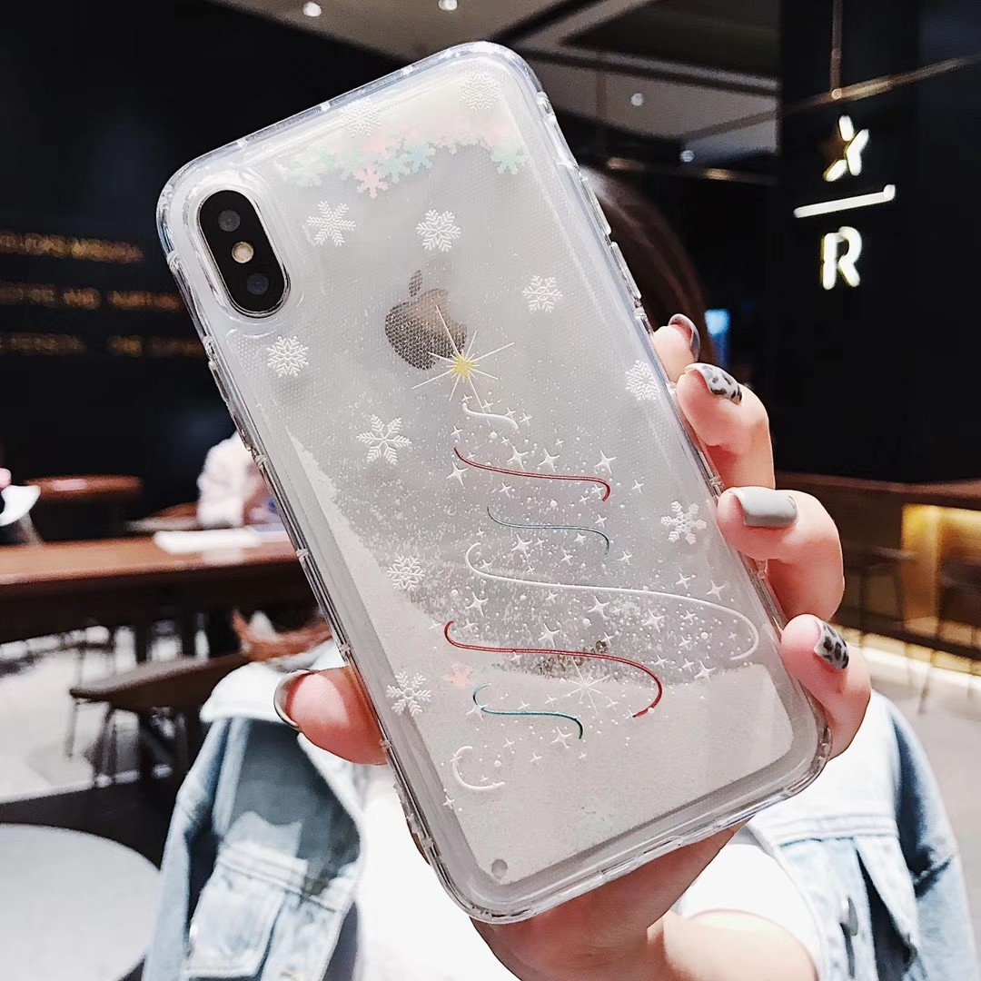 Phone - Christmas Fashion Liquid Glitter Sand Mobile Phone Cases For iphone 6 6s 5 S SE 7 8 Plus X XR XS Max